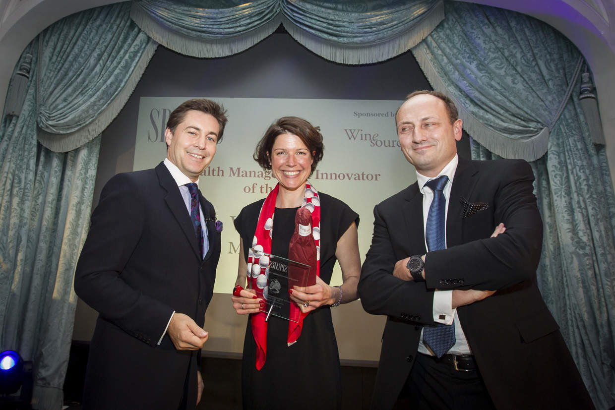Wealth Management Innovator - host Ross Westgate, Kirsty MacArthur (Metro Bank), Philippe Kalmbach (sponsor, Wine Source Group)