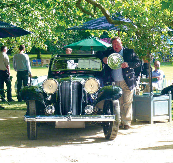 James Hull with a prizewinning 1933 Jaguar SS1 coupe
