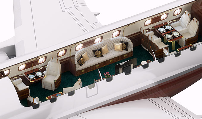 The 84-ft-long yacht jet has a fine dining space, a conference room, chartroom and relaxing 'galley' lounge area with cocktail bar and large sofa. Image Credit: www.embraerexecutivejets.com